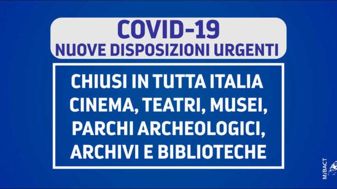 COVID-19: Chiusura dei Luoghi di Cultura